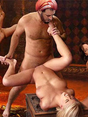 Two 3d naked babes in stay ups getstheir bodies tortured with hot wax and forced to taste their master's cum.